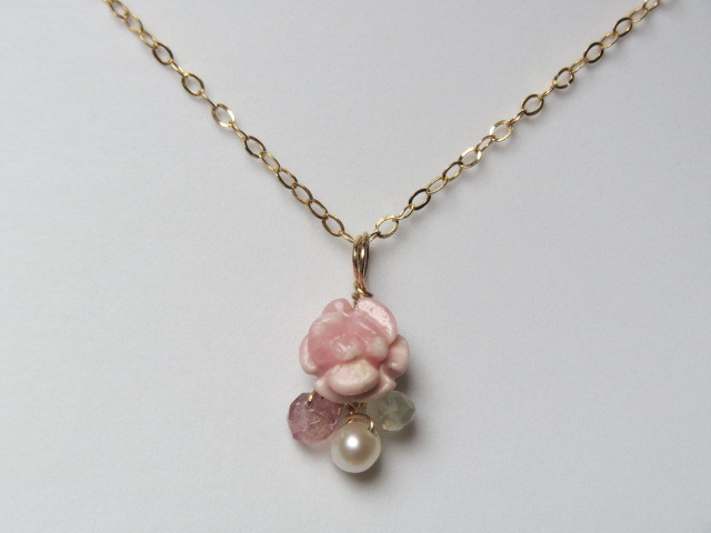 14kgf インカローズ薔薇のネックレス