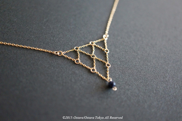��14KGF��Necklace,14KGF Net Chain Triangle,Blue Gold Stone