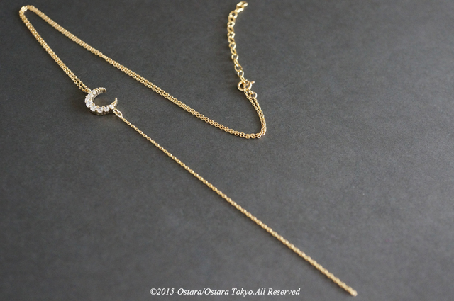 【14KGF】Y-Necklace,16KGP Crescent Moon