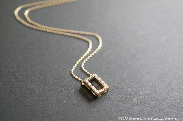 【14KGF】Necklace,16KGP CZ Rectangle