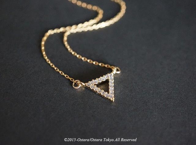 【14KGF】Necklace, 16KGP Gold ,CZ  Triangle