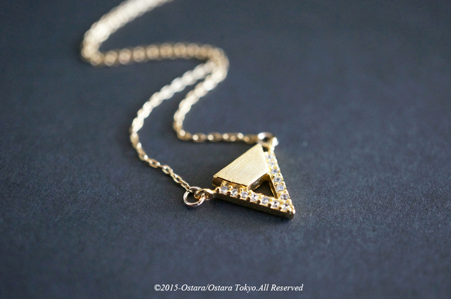 【14KGF】Necklace 16KGP Mat Gold ,CZ  Triangle