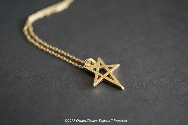 【14KGF】Necklace,16KGP Mat Gold Star