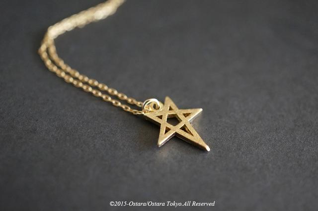 ��14KGF��Necklace,16KGP Mat Gold Star