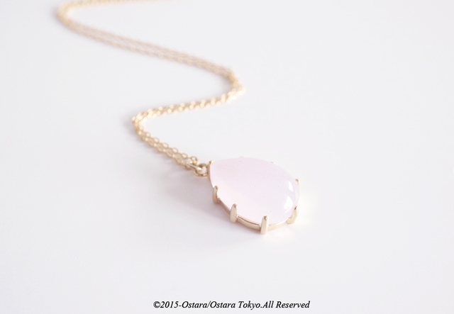 【14KGF】Necklace,16KGP Teardrop Glass-Pink-