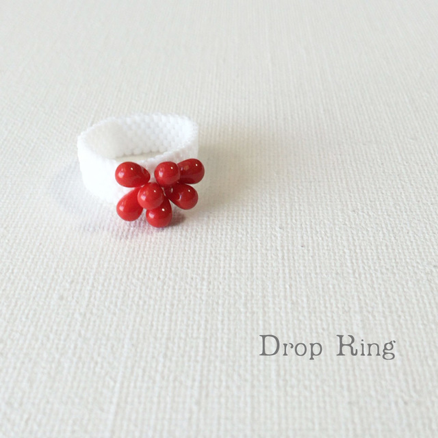 ビーズリング Drop Red ☆Peyote Ring