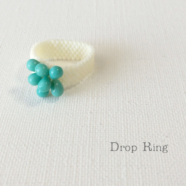 ビーズリング Drop Blue ☆Peyote Ring