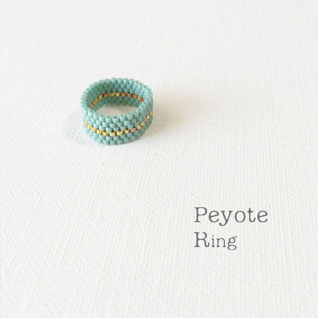 ビーズリング Turquoise Gold ☆Peyote Ring