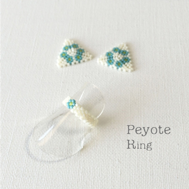ビーズリング Flower Blue ☆Peyote Ring