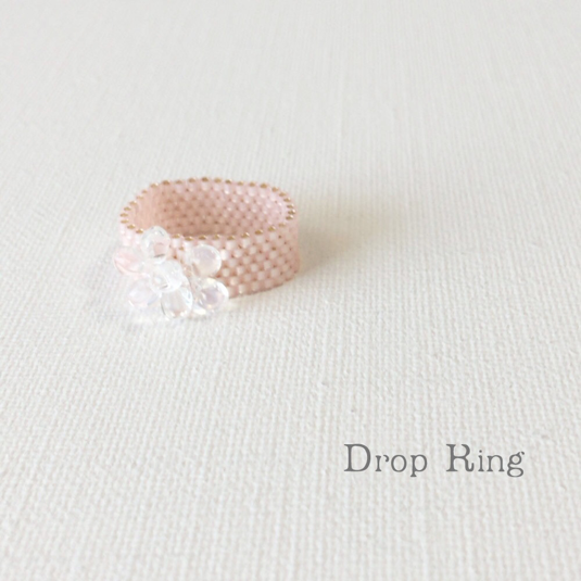 ビーズリング Drop Pink ☆Peyote Ring