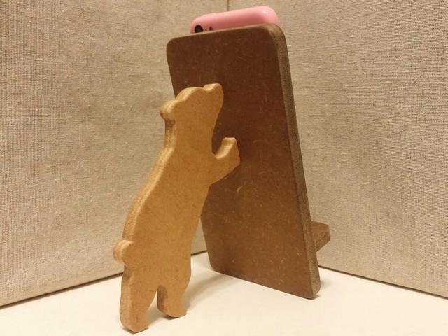 クマが支える携帯・スマホスタンド 濃茶