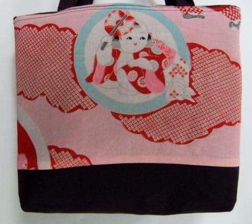着物リメイク 錦紗縮緬の着物で作った手提げ袋 344