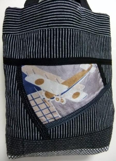 着物リメイク 唐桟縞の着物で作ったミニ手提げ袋 346