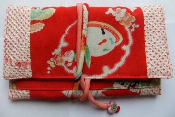絞りの羽織と女の子の着物で作った和風財布 347