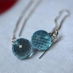 Blue Topaz 10mm Faceted Ball S925:チェーンピアス