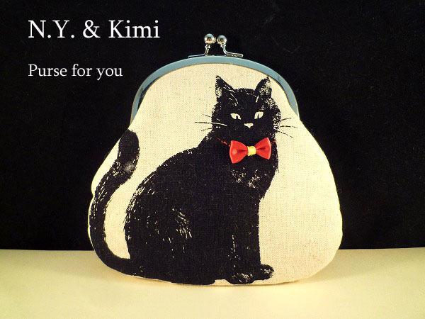 *おすわり 黒ネコ 赤いリボン がま口 ポーチ 財布*