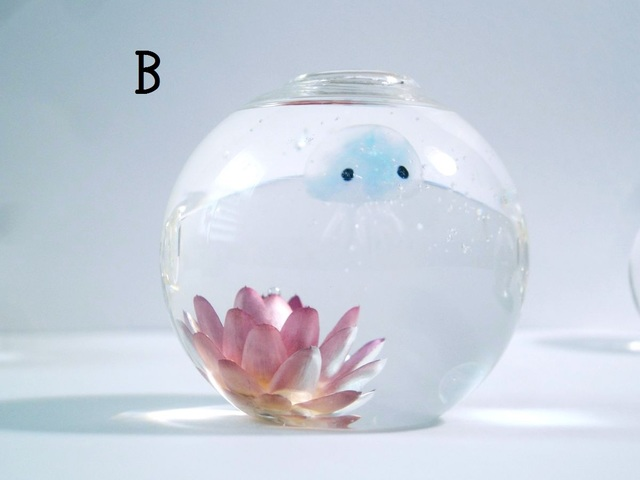〈a様専用〉オーダー品:ぷちアクアリウム くらげちゃん★花とクラゲ B、ミニグラスA,C,D
