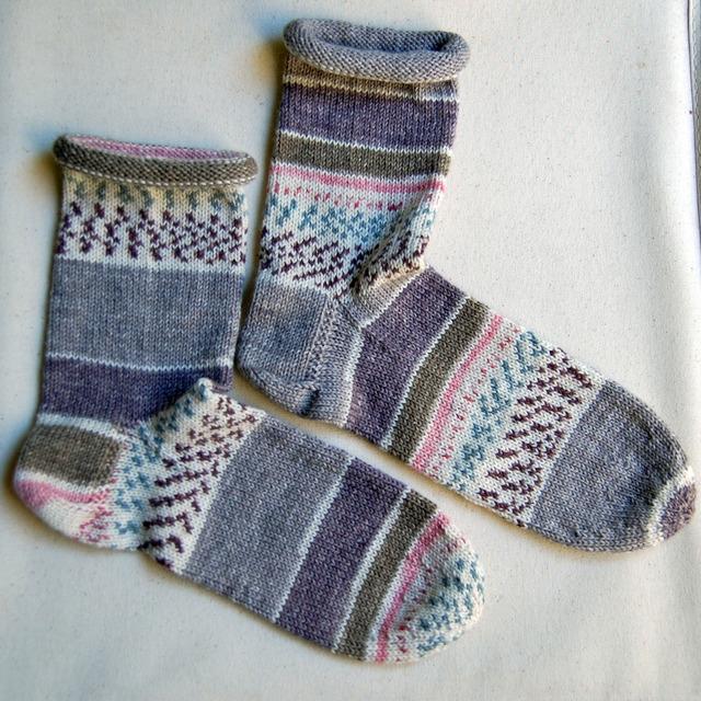 はき口くるくるメリヤス編み靴下 No.1