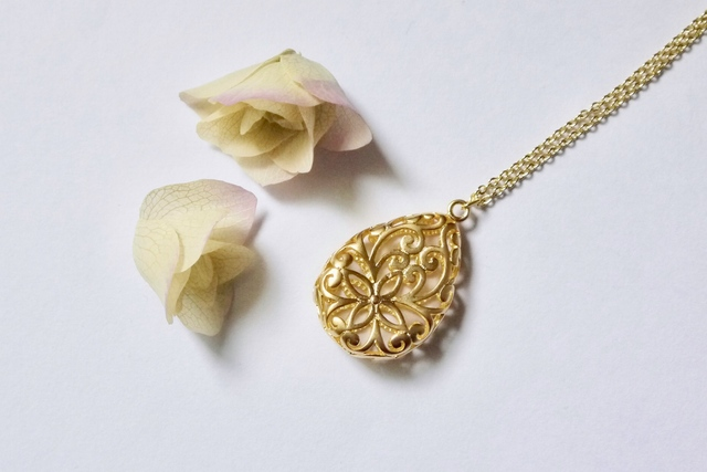 16kgp/Gold ivy necklace