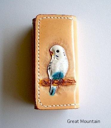 インコ セキセイインコ 鳥 キーケース インコグッズ 革 レザー プレゼント 鳥グッズ