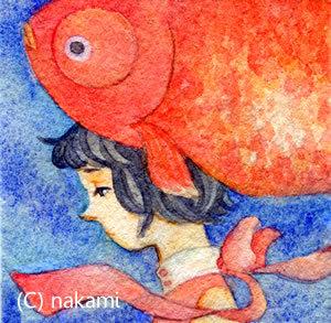 ミニイラスト「金魚になりたかった少女」 (原画)