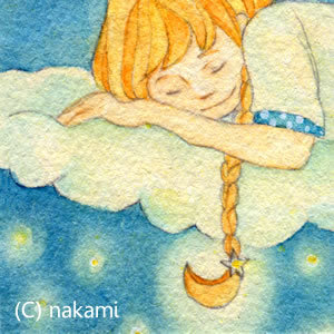 ミニイラスト「夜空に眠る」 (原画)