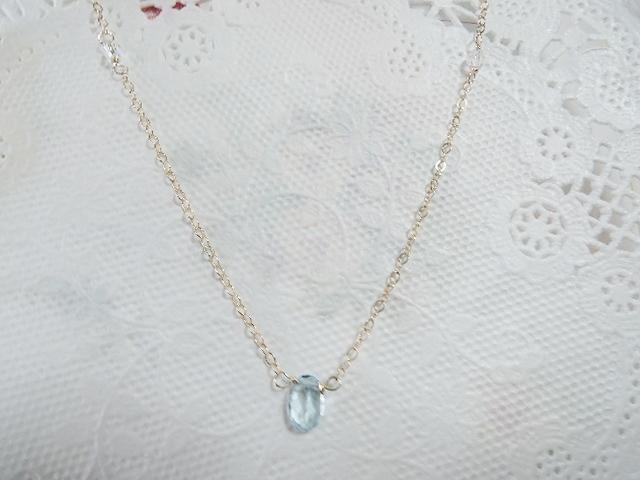 (134)セール14KGF☆宝石質スカイブルートパーズ チェーンネックレス。・。・