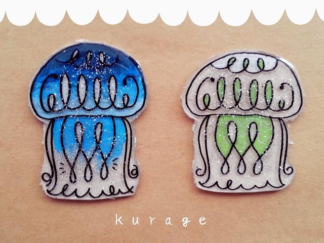 キラキラ海月ブローチ【blue】