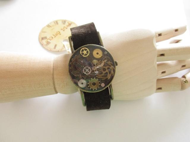 腕時計ふう革ベルトブレスレット
