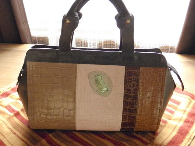 本革製 カラフルなボストンバッグ(GreenOwl)