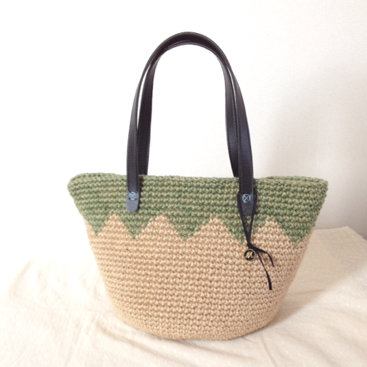 ��Ҥ� green-pattern jute BAG Lsize