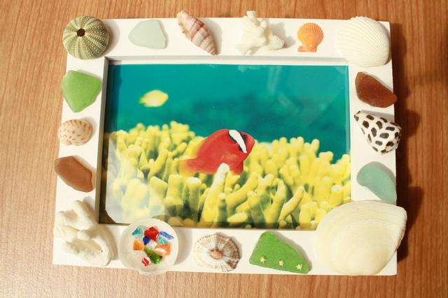 貝とシーグラスとサンゴのフォトスタンド★B