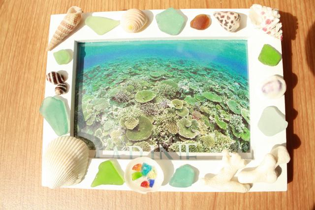 貝とシーグラスとサンゴのフォトスタン...