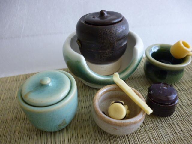 ミニチュア☆陶器 茶道具 緑流 風炉揃え