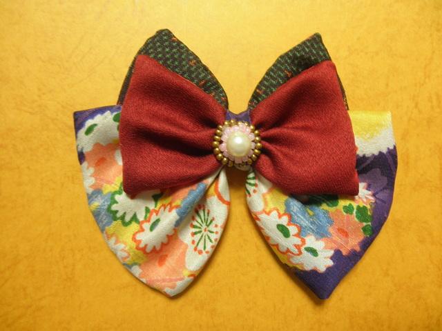 古布と紬の花飾りバレッタ