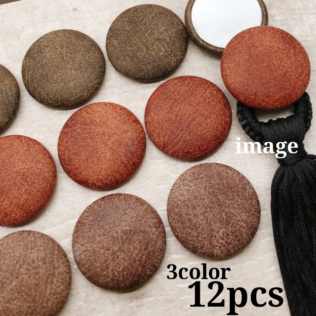 【cbtt563】【31mm】【3color 12pcs】fake leather cabochon