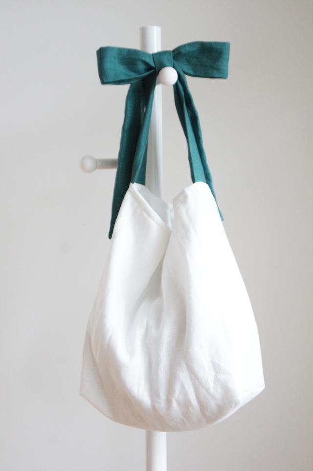 リネンキルティングリボンのバッグ(グリーン)