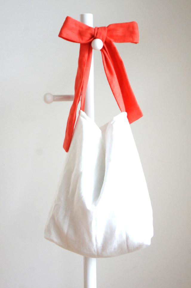 リネンキルティングリボンのバッグ(コーラルオレンジ)