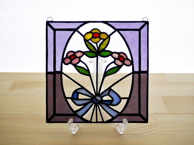 ステンドグラス ミニパネル 花束 15cm