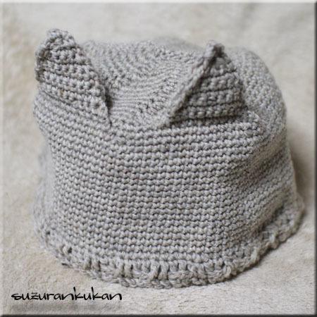 猫耳付き編み帽子010<茶鼠>