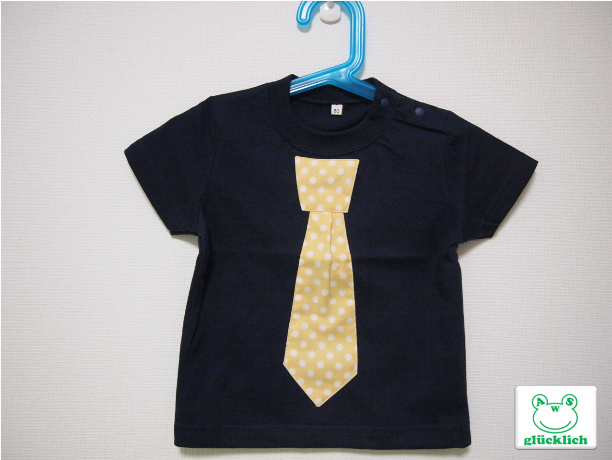 ネクタイTシャツ/80サイズ/黒×黄/水玉