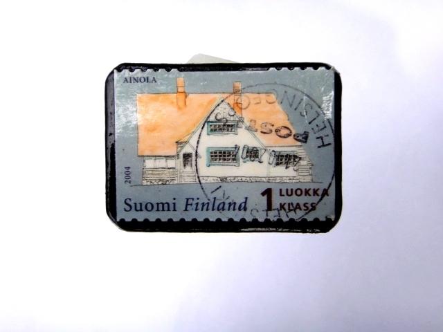 フィンランド 切手ブローチ979