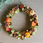 一点物【ハロウィンにも】mini pumpkin Autumn wreath pu 24cm