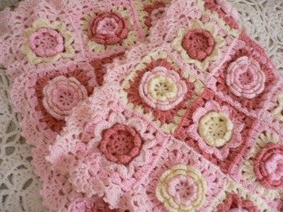 【受注製作】お花モチーフいっぱいの手編みブランケット ピンク系
