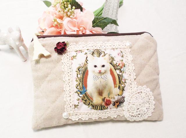ホワイト猫ポーチ☆エッフェル塔チャームセット!ギフトにもOK★ペンケースにも!