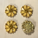 GOLD YELLOW BIJOU FLOWER CABOCHONS