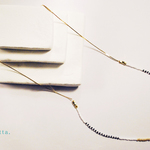 Gold x Stripe Long Necklace *Aquarium*