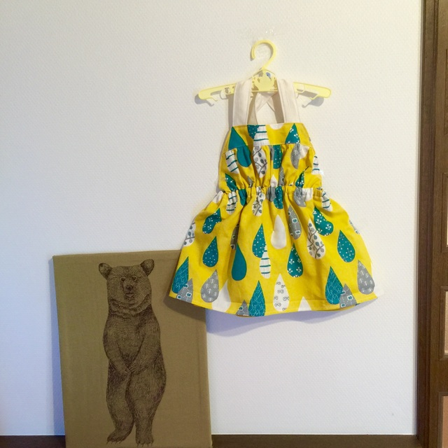 *サイズ80-90*ホルターネックのサロペットスカート*lemon yellow drop*