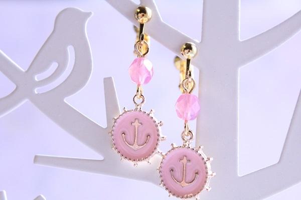カラフルアンカーのイヤリング(ピンク)