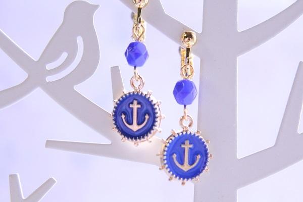 カラフルアンカーのイヤリング(ブルー)